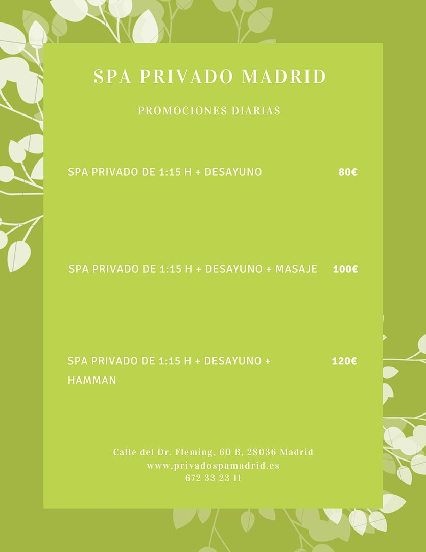 Carta promociones diarias 2020 - Spa Privado Madrid