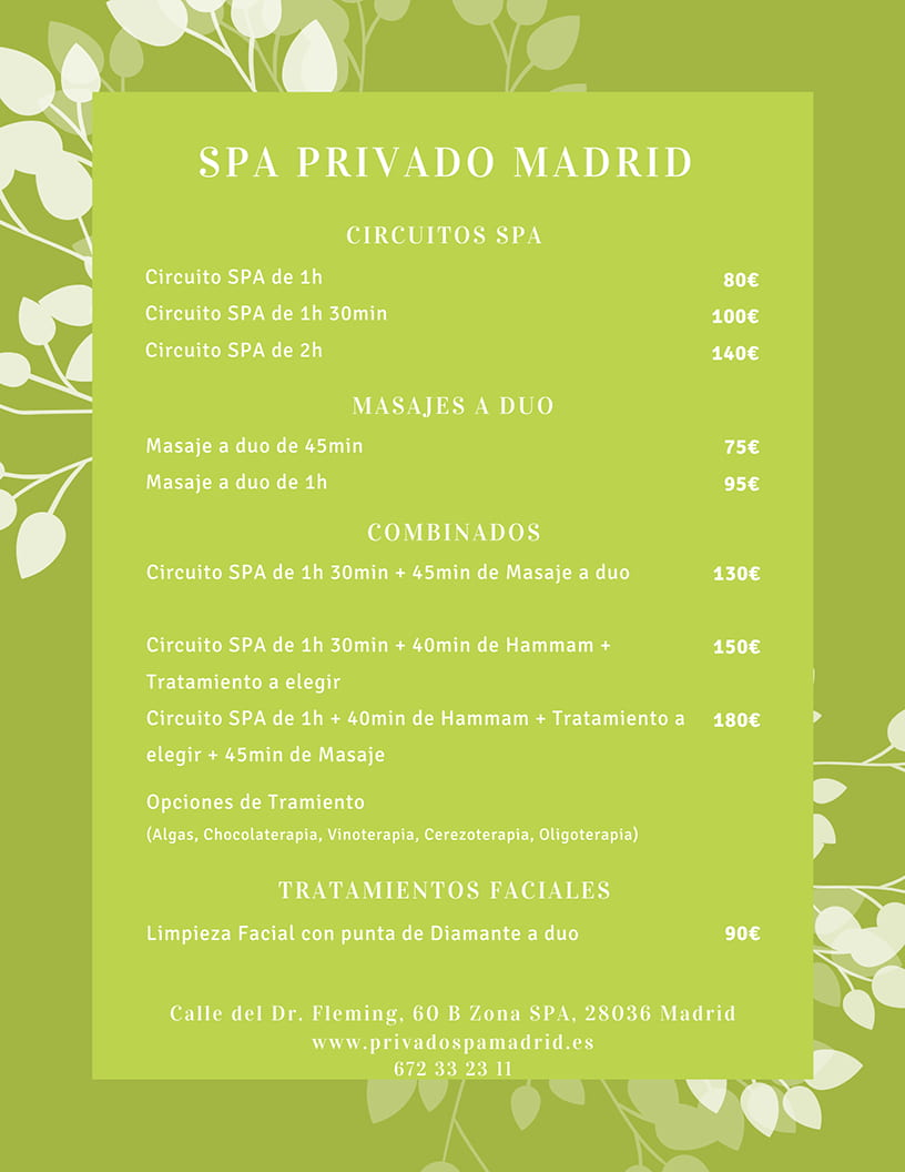 Carta Servicios 2021 - Spa Privado Madrid